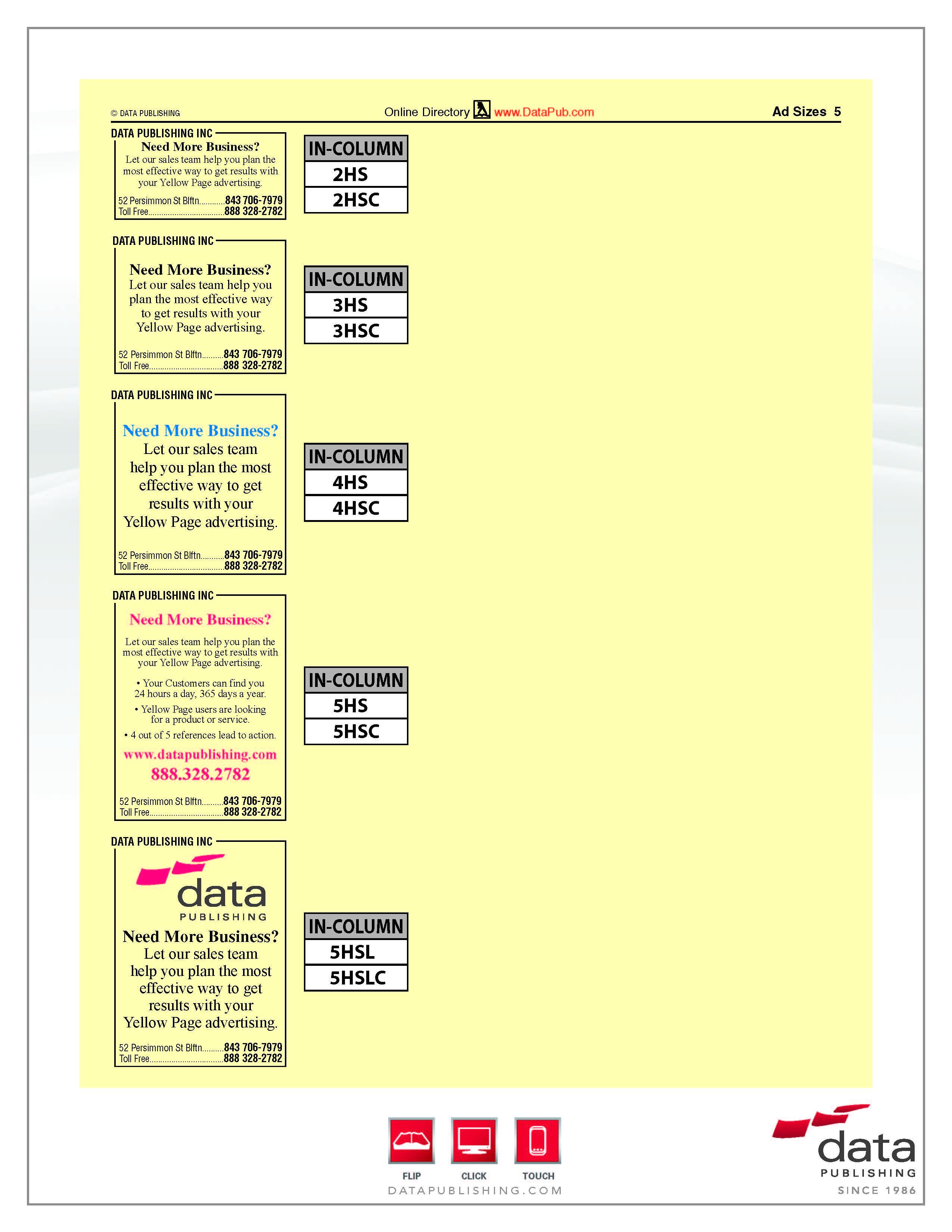 Phone Book Ad Specs :